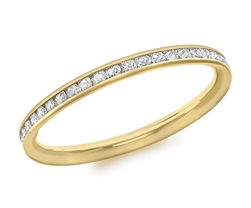Carissima Gold 9ct Yellow Gold Cubic Zirconia Band Ring - Size N