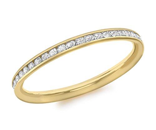 Carissima Gold Ring 9k (375) Gelbgold Zirkonia Band - Größe L