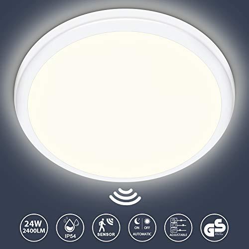 LED Deckenleuchte mit Bewegungsmelder 24W, 2400LM LED Deckenlampe mit Dämmerungssensor, IP54 Wasserfest Sensorlampe Für Flur Treppen Lager Garage Balkon Keller, Neutralweiß 4000K, Ø28.8cm