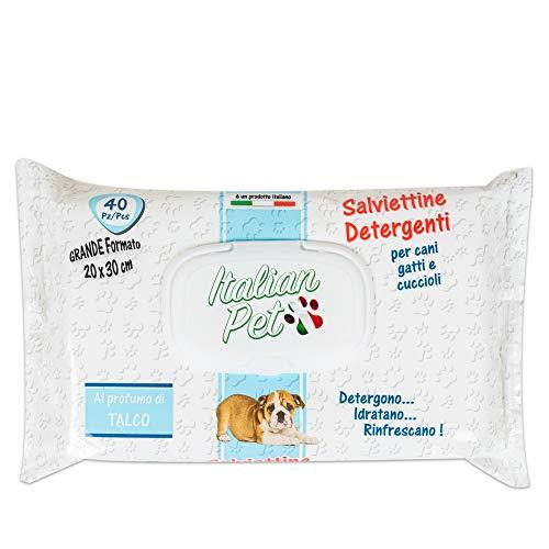 Italian Pet Salviette Detergenti per Animali Domestici - Salviettine Detergenti Umidificate al Talco per Pulire Zampe e Pelo di Cani e Gatti -Confezione 40 Salviette Monouso, 30x20 cm