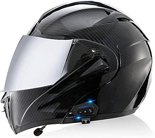 OOMEI Modular Casco de Moto Integrado Bluetooth,Cascos Integrale de Moto Modulares para Hombres y Mujeres Adultos,Certificación ECE con Doble Visera para Montar Al Aire Libre Apto Casco
