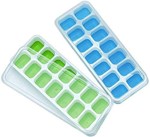Eiswürfelformen aus Silikon, leicht zu lösen und flexibel, 14 Eiswürfelformen mit auslaufsicherem, abnehmbarem Deckel, BPA-frei, langlebig und spülmaschinenfest, 2 Stück