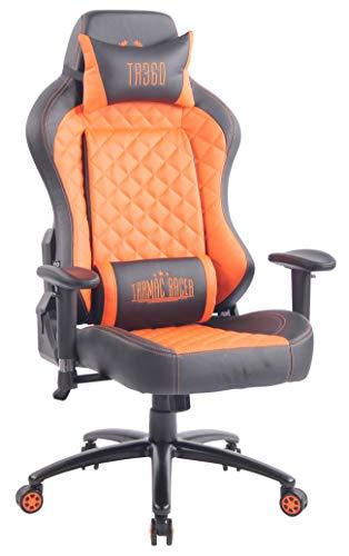 CLP Sedia Gaming con Doppio Cuscino Rapid in Similpelle I Poltrona Racing Ufficio con Braccioli Orientabili, Colore:Nero/Arancione