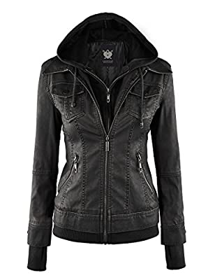 Lock and Love LL WJC664 Womens Faux Leather Jacket with Hoodie M Black from