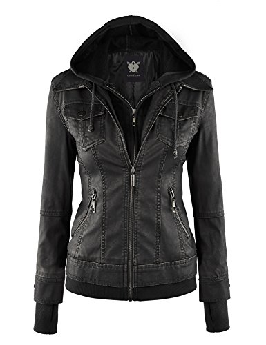 Lock and Love LL WJC664 Womens Faux Leather Jacket with Hoodie S Black