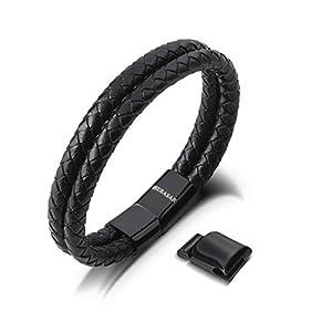 SERASAR | Premium Echtlederarmband für Männer in schwarz | Magnetverschluss aus Edelstahl in schwarz & Silber | Exklusive Schmuckschachtel | Tolle Geschenkidee