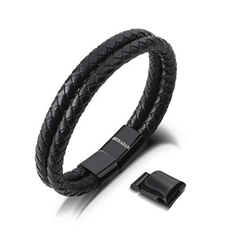 SERASAR | Pulsera de Cuero Premium para Hombre en Negro | Cerradura Magnética de Acero Inoxidable en Negro y Plata | Joyero Exclusivo | Gran Idea de Regalo
