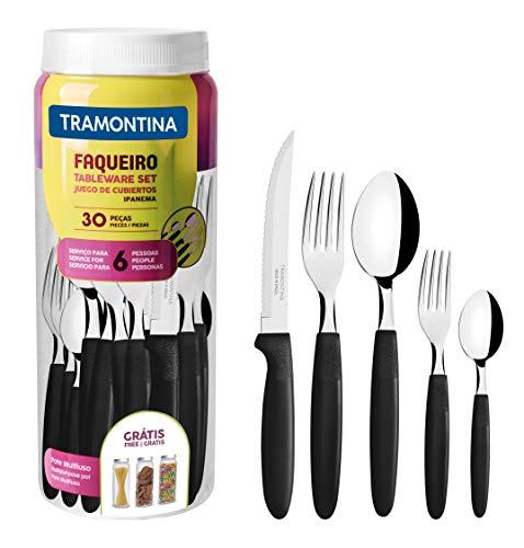 Tramontina 23398088 Ipanema - Servizio di posate per 6 persone, 30 pezzi, in acciaio INOX, manico nero