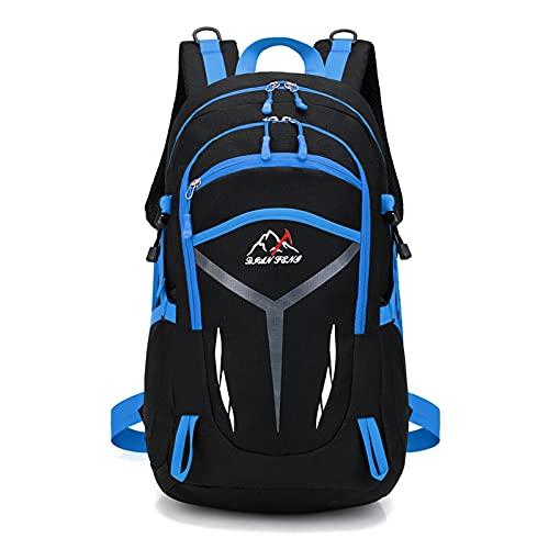 カジュアルバックパック、たっぷり収納バッグラージカジュアルデイパック、ラップトップユニセックス軽量40L、キャンプ登山ウォーキングサイクリングクライミング,ブルー