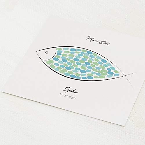 sendmoments Fingerabdruck Poster, Einfacher Fisch Kommunion, quadratisch 30x30 cm, personalisiert...
