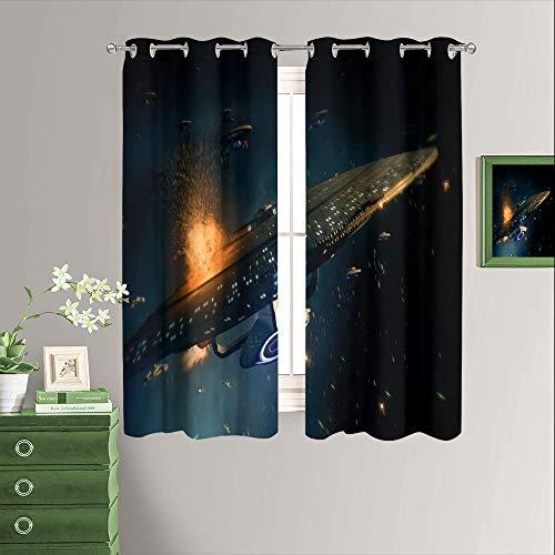 Cortinas decorativas con estampado de Star Trek, con ojales en la parte superior, cortinas opacas y cortinas para sótano de 84 x 84 pulgadas