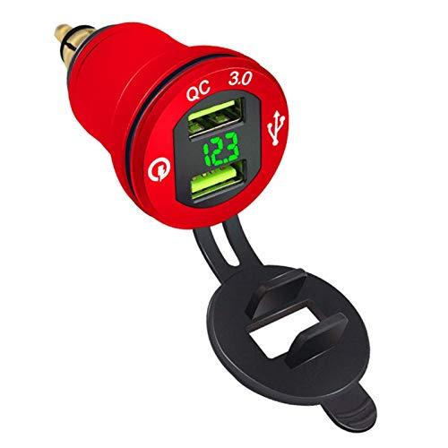 Nrpfell Cargador de Coche QC3.0 Cargador de Carga RáPida Dual USB One con 2 Pantallas Digitales con VoltíMetro Rojo con Voltaje Verde