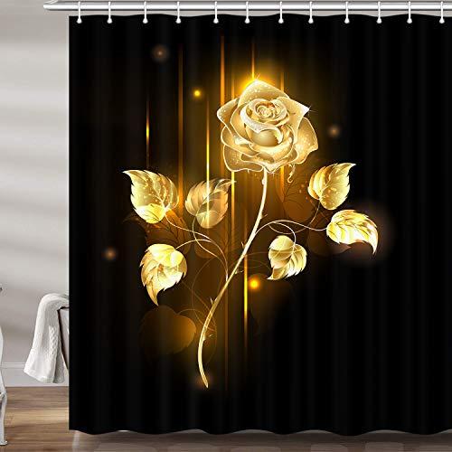Juego de cortinas de ducha de color negro y dorado para baño, set de cortinas de ducha de tela negra y floral, 12 ganchos incluidos (175 cm de ancho x 182 cm de alto). ⭐