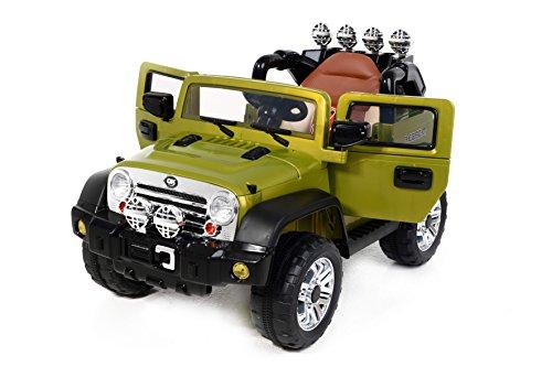 Auto elettrica per bambini Jeep Rancher verde di CARSTOYS ruote in EVA sedile imbottito porte apribili