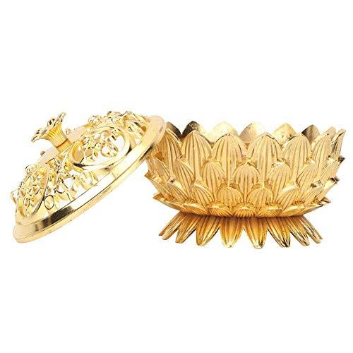 TEAYASON Old-Fashioned - Soporte de incienso de aleación en forma de loto con cubierta hueca para decoración de hogar y oficina (oro), color dorado