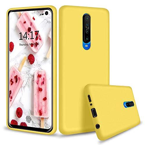 MUTOUREN Kompatibel mit Xiaomi Redmi K30 / Poco X2 Hülle TPU Flüssig Silikon Kratzfeste Schutzhülle mit stoßsicheres Futter aus Mikrofaser rutschfeste Handyhülle Schale Bumper Case, Gelb