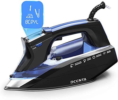 Dcenta LCD Screen Steam Iron, 11 Temperature and Fabric Settings Steam Iron for Clothes,  Professional Grade Powerful 1800W, 3-Way Auto-Off, Self-Cleaning, Anti-Drip Clothes Iron for Home