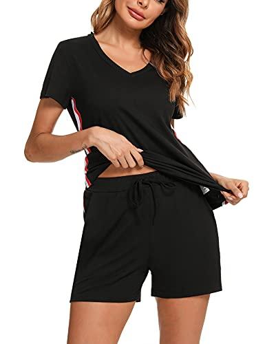 Sykooria Conjuntos Deportivos Mujer, Camiseta + Pantalones Cortos 2 piezas CháNdal Mujer Conjunto, Ropa Deporte Mujer para Gimnasio Yoga de Entrenamiento