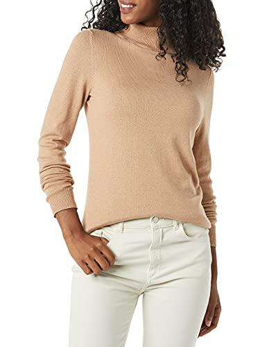 Amazon Essentials Lightweight Turtleneck Sweater, Taupe Heather, M