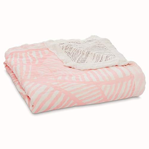 aden + anais - Couverture de Rêve Silky Soft, Couverture pour Bébé en 100% Viscose de Bambou, Douce et Confortable, Adaptée pour les Nouveaux-nés, pour Fille, Rose & Blanc, Extra Large, 120x120 cm