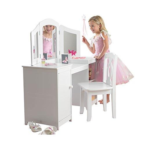 KidKraft Deluxe Frisiertisch und Stuhl Möbelstück für Spielzimmer/Kinderzimmer, Wood