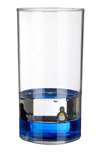 Premier Housewares Zahnputzbecher mit Schwimmende Pinguine, Acryl, transparent/blau, 7X 7X 12cm