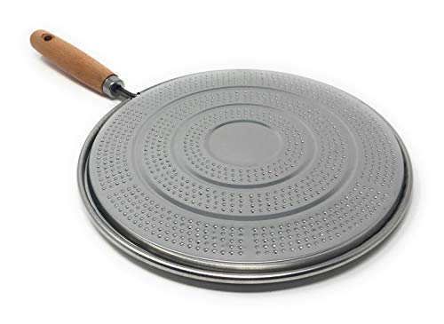 MGE - Difusor de Calor para Cocinas de Gas con Mango de Madera - Placa Difusora de Calor - Acero Estañado - Ø 21 cm