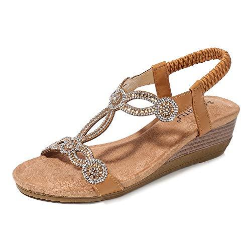 Meeshine Womens Wedge Sandal Platform Rhinestone Dress Sandals Bohemia Shoes Camel-07 US 9.5
