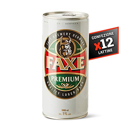 Faxe Lager - Birra Chiara - Lager Super Premium a Bassa Fermentazione - Cartone 12 Lattine da 100 cl