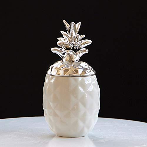 big face cat Vaso per Ananas in Ceramica, Decorazione Barattolo, Barattolo Piccolo - Argento, Misura Libera