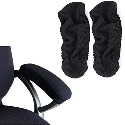 Isccdy Chair Arm Pad Covers Overs,Removable Washable Office Chair Armrest Covers Pads (#Black)