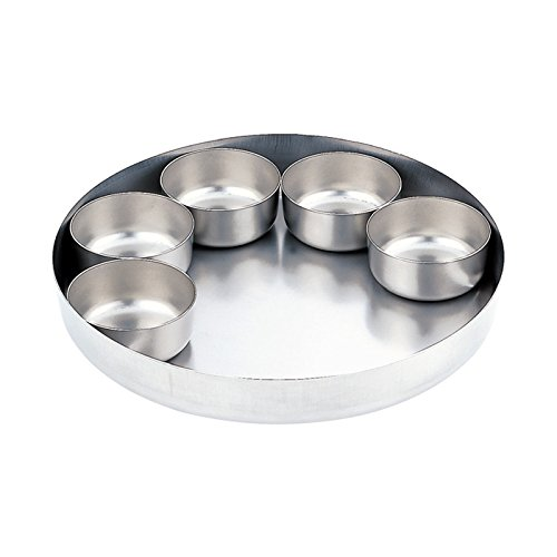 日本製 SWカレートレー&カップ5個セット 30cm   [ステンレス皿・カレー皿]