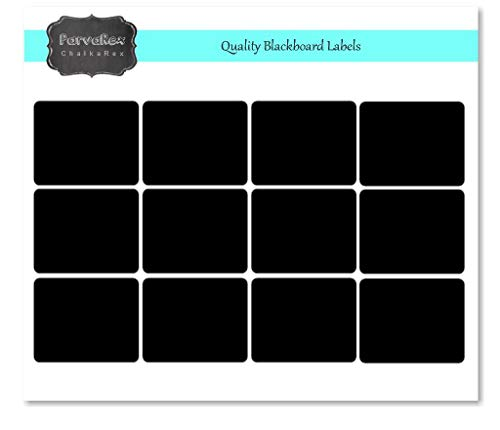 di colore nero opaco etichette in vinile Nero LabelQueen contenuti in una pratica scatola 100 adesivi lavagna 5cm x 7.5cm per barattoli di marmellata o di conserve