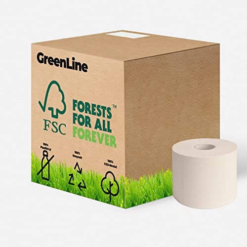 Toilettenpapier 3-lagig GreenLine   36 Rollen a 400 Blatt Hochweiß   plastikfrei, 100% Recycling, hautfreundlich & umweltfreundlich