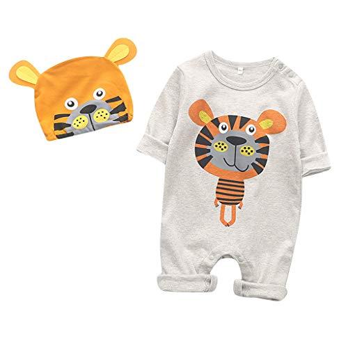 Kobay Säugling Baby Mädchen Junge Cartoon Tier Strampler Overall Spielanzug Baby Langarm Strampler Neugeborenes Baby Striped Dot Cartoon Tieranzug Hut (0-18M)