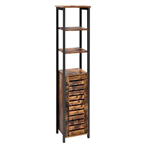 VASAGLE Hochschrank, schmales Küchenregal mit 3 Ablagen und Schrank, Bücherregal, hoher Beistellschrank, Industrie-Design, Wohnzimmer, Schlafzimmer, Flur, 37 x 30 x 167 cm, Vintage LSC37BX