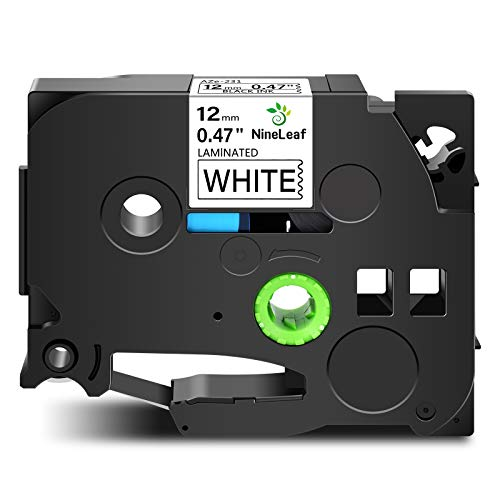 Nineleaf 1 Pack Compatible for Brother P-Touch Standard Laminated TZe TZ TZe-231 TZ231 TZe231 Label Tape Cartridge 0.47 inches 26.2ft (12mm/8m) (TZe-231 Black on White)