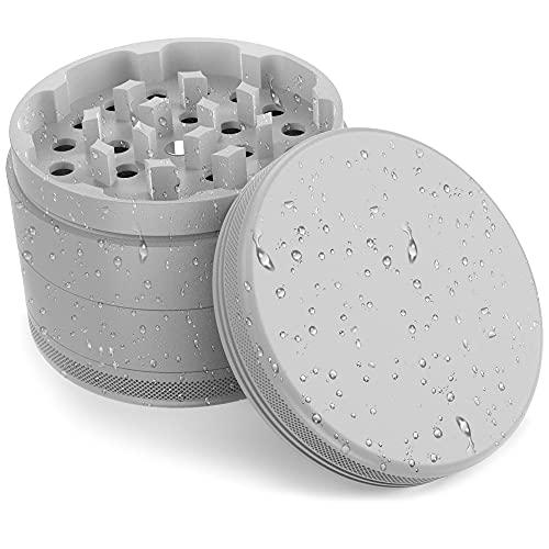JCASE Keramik Grinder Crusher Haftfrei   4-teilig   Nano Keramik beschichtete Kräutermühle   Ø 63 mm   inkl. Tragetasche, Pollenschaber, Pinsel und Mundstück (Grey)