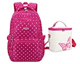 Tonlen Kids Girls Middle Elementary High School Backpack with Lunchbox for Girls Red