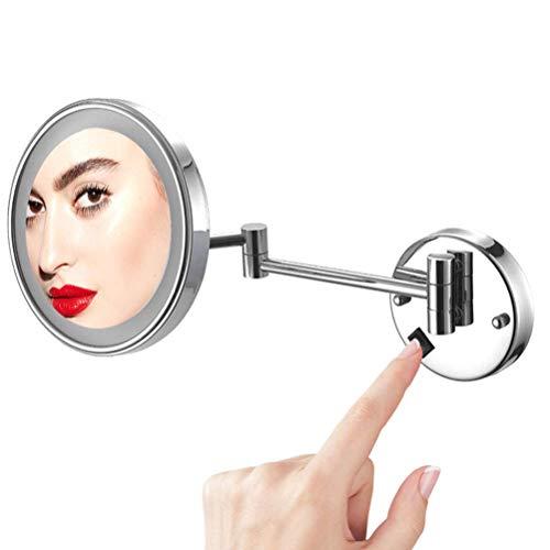 Espejo De Aumento De Pared, Espejo De Maquillaje con Luz Led 10X Aumento, Espejo Giratorio Luz Ajustable Giratoria De 180 ??Grados, Espejo De Baño con Luces Y Lupa