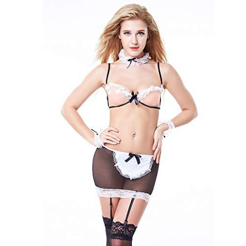 QINGGG Frauen Erotische Unterwäsche Versuchung Kleiden Sexy Spitze Rock Dessous Lingerie Nachtwäsche Dessous Uniformen Babydoll,XL
