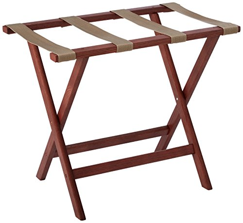 Wooden Mallet Deluxe Straight Leg Luggage Rack,Tan Straps, Mahogany