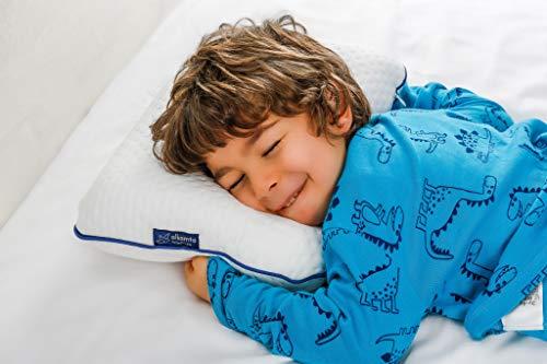 Alkamto Kinderkissen - Orthopädische Nackenstütze Memory Schaum mit zusätzlichen Baumwollbezug für Kinder und Kleinkinder - Visco-Kopfkissen - leicht zu tragende Tasche (5 - 10 Jahre)