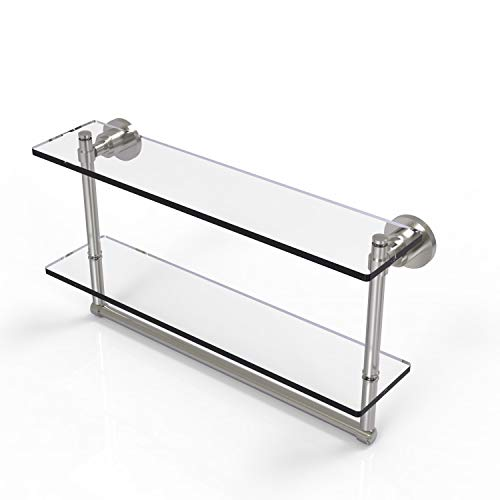 Allied Brass WS-2TB/22 Washington Square Collection 22 Inch Two Tiered Integrated Towel Bar Glass Shelf, Satin Nickel
