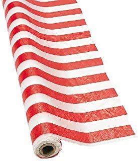 Fun Express Red and White Striped Tablecloth Roll (100 ft) Party Supplies Table Covers