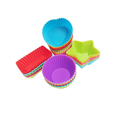 MFDSJ 40 Pack Silicone Cups Baking Molds, Reusable Non Stick Silicone Cupcake Baking Cups & Silicone Cupcake Liners for Baking