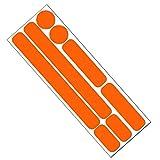 Reflektor Aufkleber Set für Fahrrad, Helm, Anhänger oder Laufrad, reflektierende Aufkleber (orange)