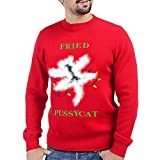 Ugly Christmas Sweater - Unisex for Women Men - Fried Pussycat Funny Hilarious Xmas Holiday Vacation Shirt - Red(L)