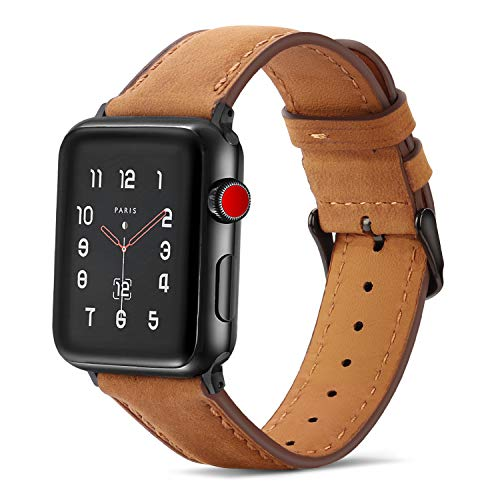 Tasikar Lederarmband Kompatibel mit Apple Watch Armband 42mm 44mm Premium Echte Leder Ersatzarmband kompatibel mit Apple Watch Series 5/4 (44mm) Series 3/2 / 1 (42mm) - Braun