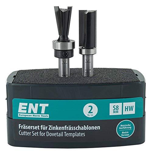 ENT 09043 2-tlg. Fräser-Set für metrische Zinkenfrässchablone von ENT, HW, Schaft (S) 8 mm, für einfache und stabile Schwalbenschwanz- und Zinkenverbindungen